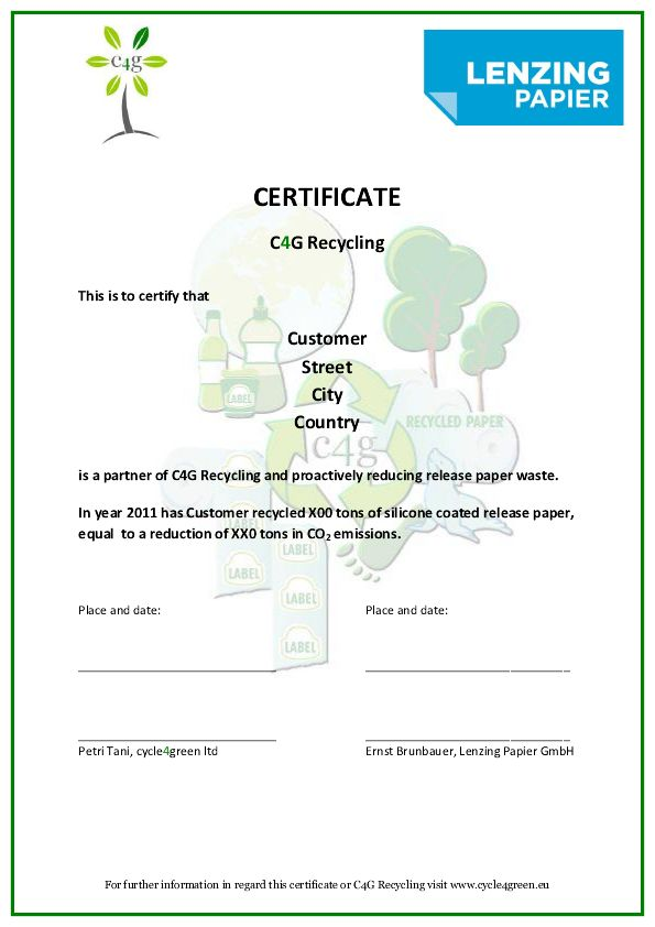 Release paper liners recycling cycle4green for Certificate of disposal template